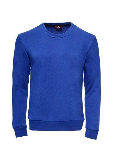 Wessi Wessı Erkek Bisiklet Yaka Baskılı Sweatshirt Mavi
